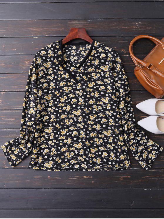 shops V Neck Choker Floral Blouse - PURPLISH BLUE M