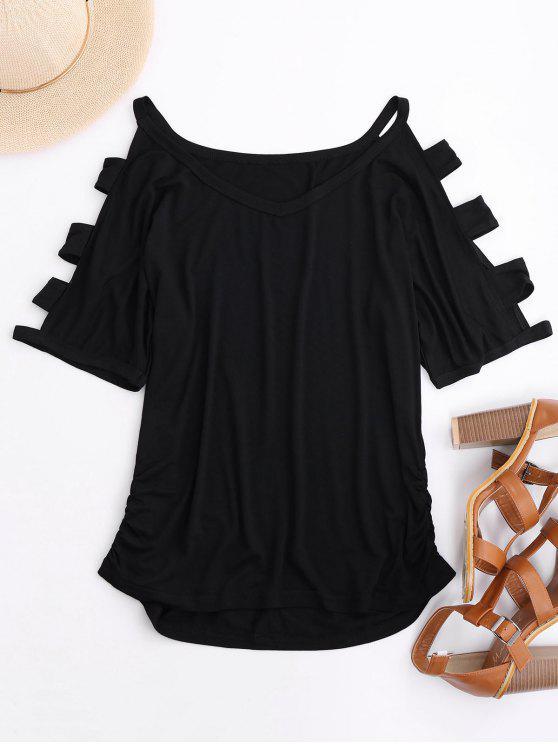 Geraffte Ausschnitte T-Shirt - Schwarz L