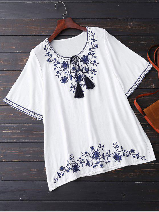 ladies Embroidered Half Sleeve Blouse - WHITE ONE SIZE