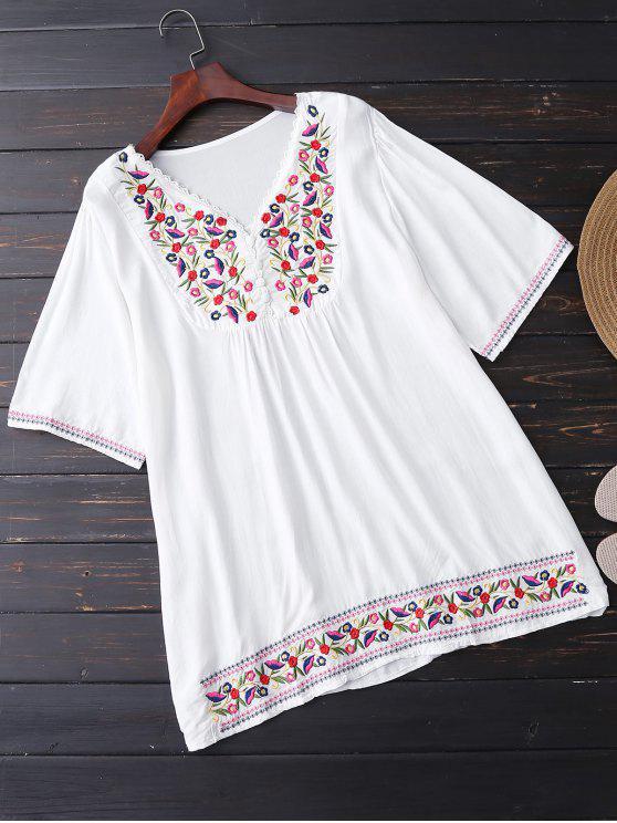Floral bordada túnica de la blusa - Blanco Única Talla