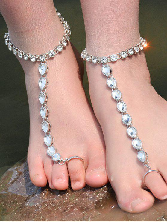 ONE PIECE Rhinestoned Teardrop Anklet - Argent
