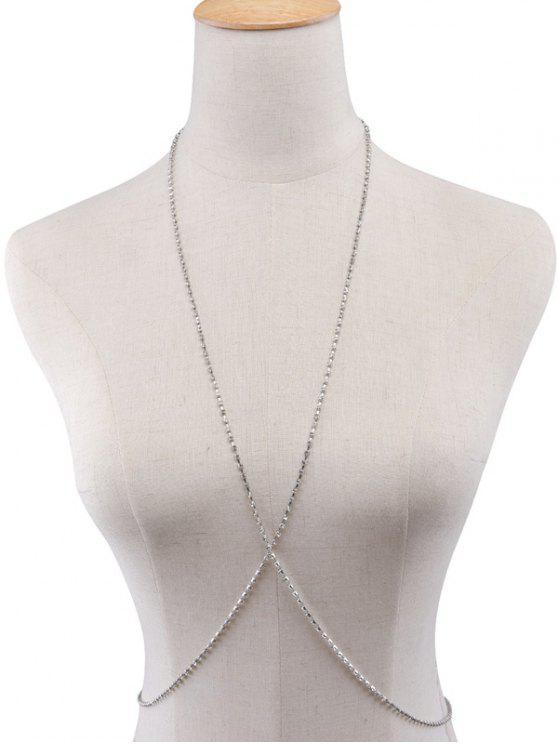 fashion Rhinestoned Body Chain - SILVER