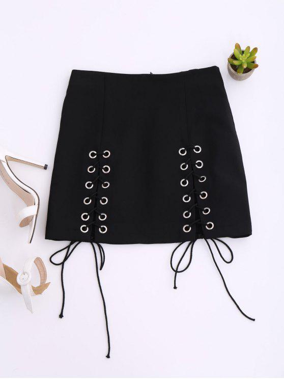 women's Punk Lace Up Mini Skirt - BLACK M