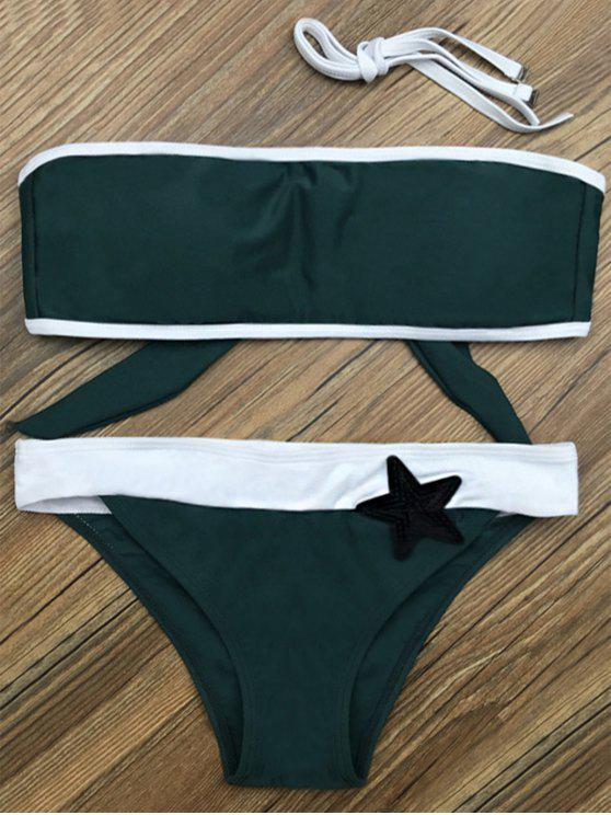 shops Color Block Star Patched Bikini Set - GREEN S