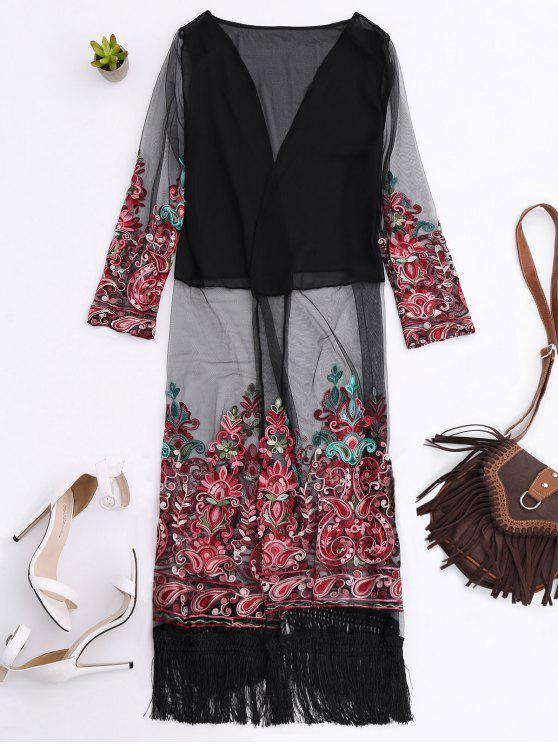 sale Embroidered Open Front Long Duster Coat - BLACK ONE SIZE