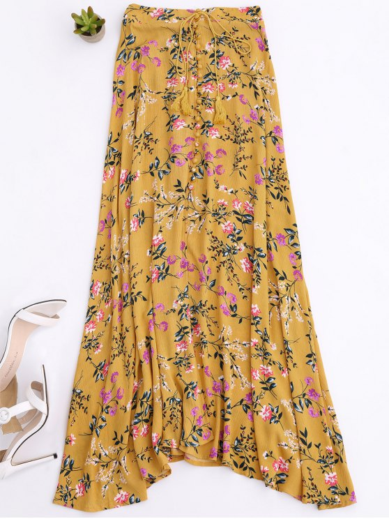 Front Slit Tiny Floral Maxi Skirt - Yellow M