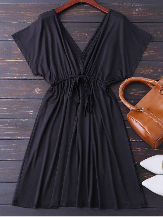 Robe col V plongeant à lacet - Noir XL