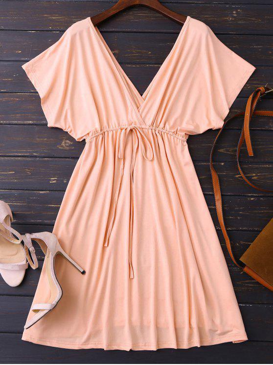 new Plunge V Back Drawstring Dress - PINK L