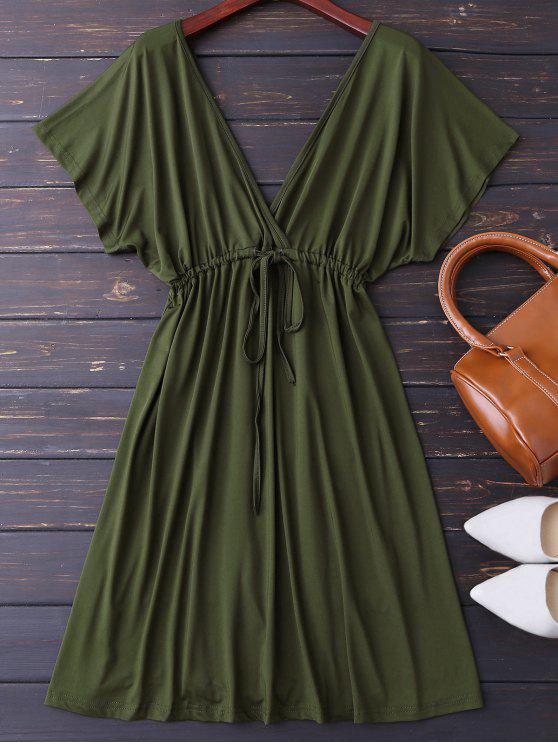 outfits Plunge V Back Drawstring Dress - ARMY GREEN L