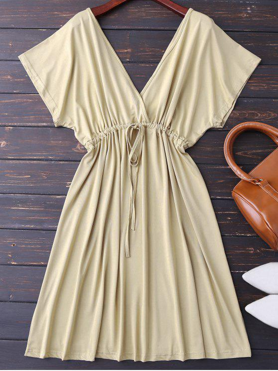 trendy Plunge V Back Drawstring Dress - KHAKI M