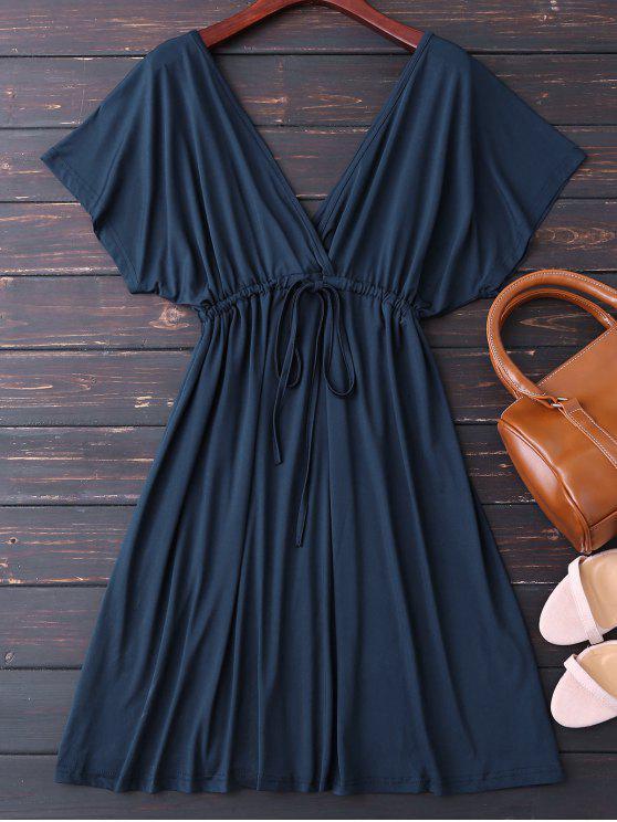 fashion Plunge V Back Drawstring Dress - PURPLISH BLUE XL