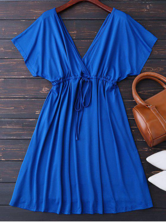 affordable Plunge V Back Drawstring Dress - ROYAL M
