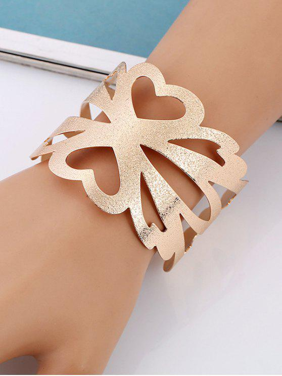 fancy Hollow Out Floral Metal Cuff Bracelet - GOLDEN