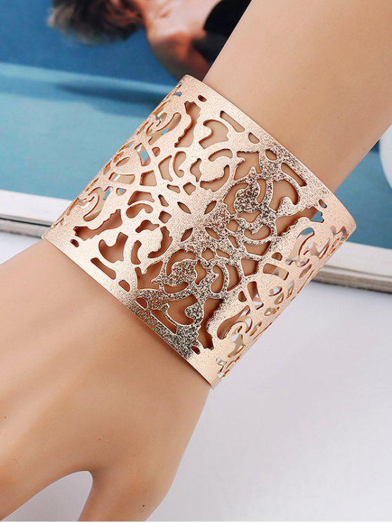 unique Hollow Out Flower Metallic Cuff Bracelet - GOLDEN