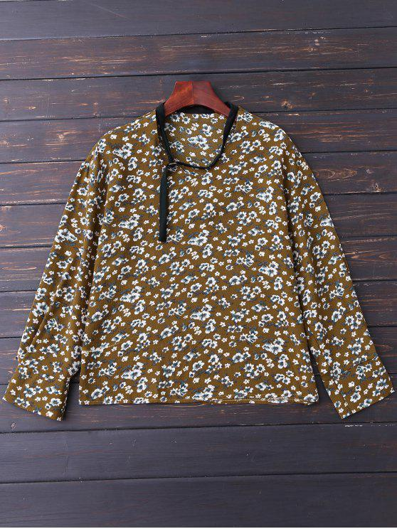 new V Neck Choker Floral Blouse - YELLOW OLIVE S