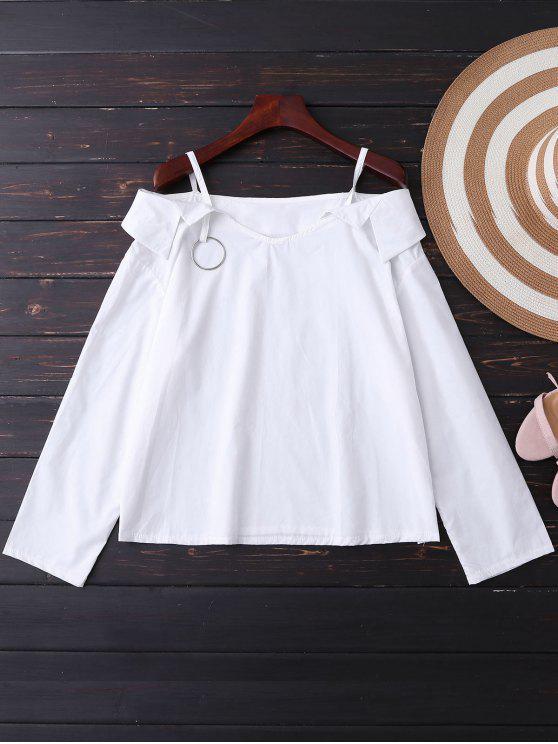 Cami Cold Shoulder del círculo del metal de la blusa - Blanco Única Talla
