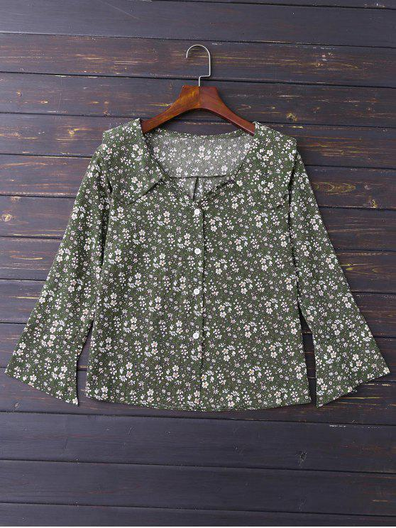 trendy Button Up Floral Flare Sleeve Shirt - GREEN M