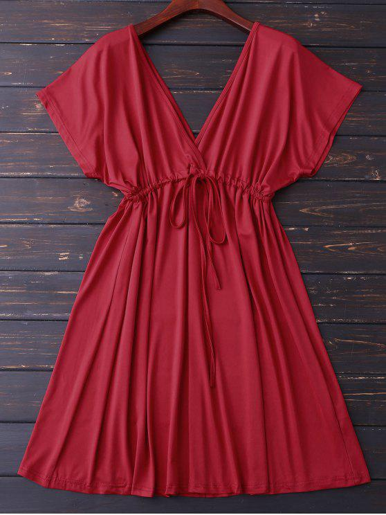 Tuffatevi V Indietro coulisse Dress - Rosso L