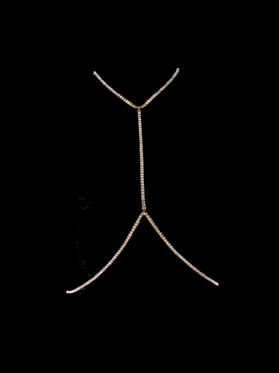 Rhinestoned Sandbeach chaîne Body - Or