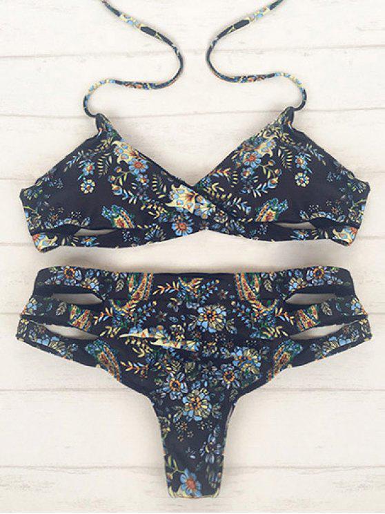 Impreso del recorte del vendaje del abrigo del bikini - Negro M