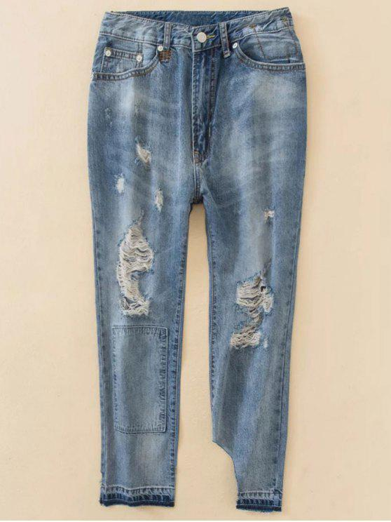 womens Distressed Boyfriend Jeans - BLUE XS