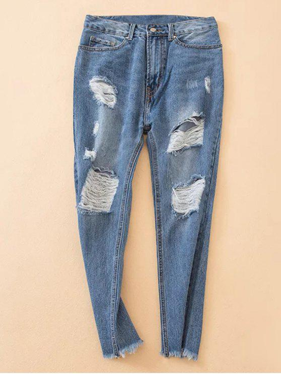 women Distressed Frayed Hem Tapered Jeans - DENIM BLUE L