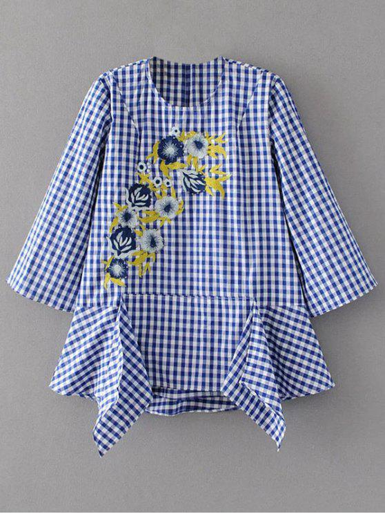 online Floral Embroidered Gingham Blouse - BLUE AND WHITE S