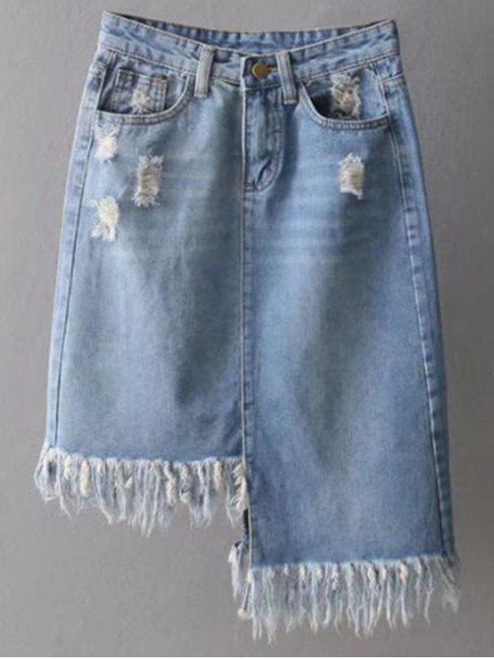 chic Asymmetrical Frayed Denim Pencil Skirt - LIGHT BLUE S