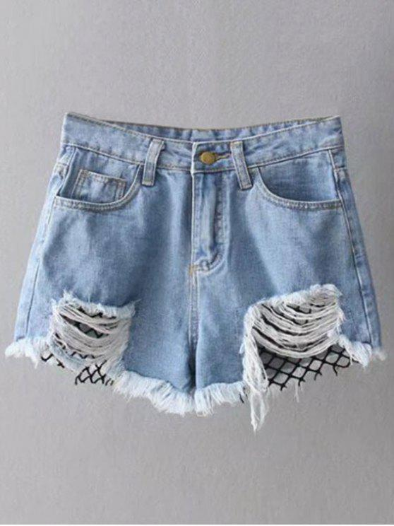 fancy Fishnet Insert Ripped Denim Cutoff Shorts - BLUE L