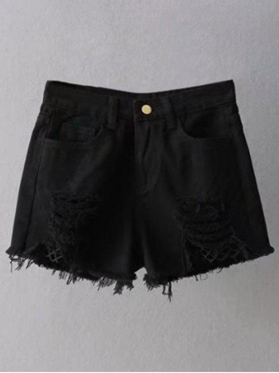 women Fishnet Insert Ripped Denim Cutoff Shorts - BLACK S