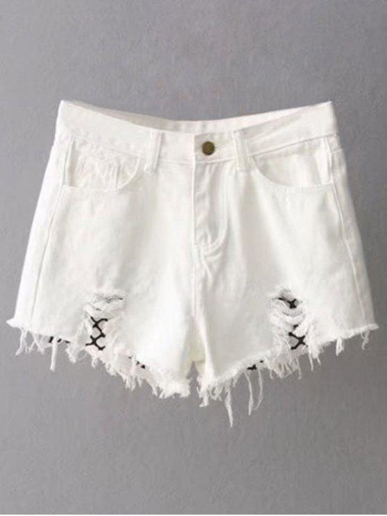 lady Fishnet Insert Ripped Denim Cutoff Shorts - WHITE M