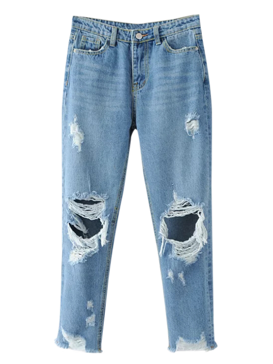 frayed ripped tapered jeans light blue jeans s zaful. Black Bedroom Furniture Sets. Home Design Ideas