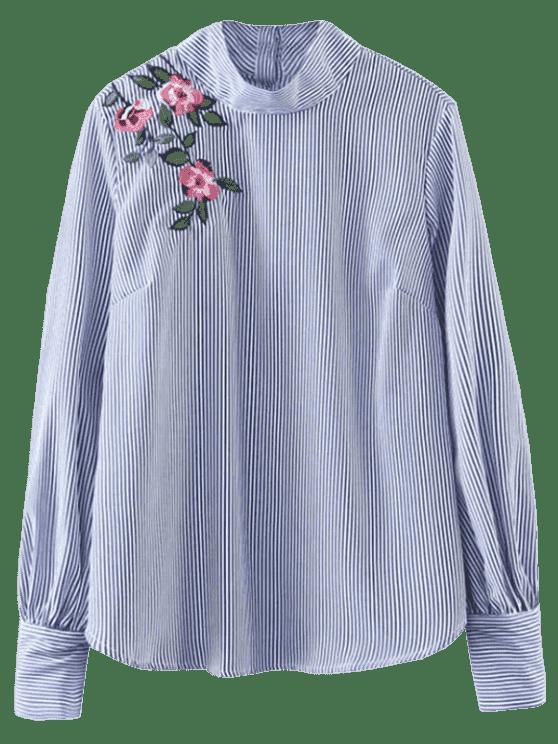 Camisa rayada floral del suéter - Raya S