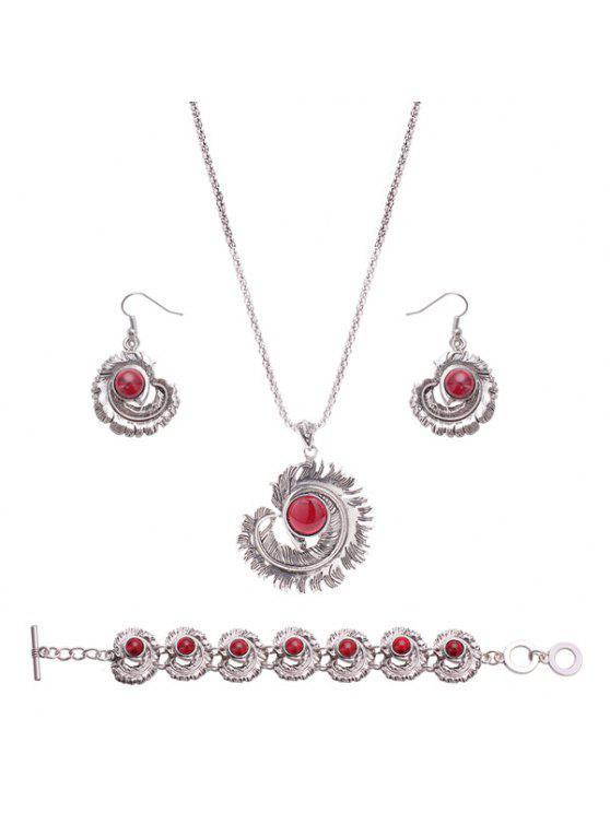 رامل الكرة ريشة مجموعة مجوهرات - أحمر