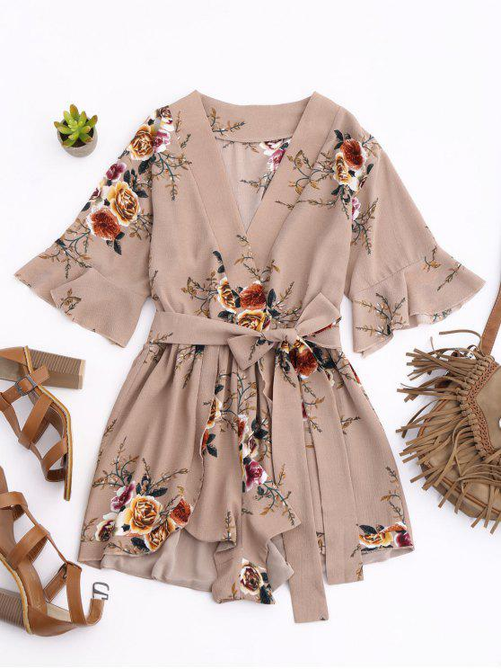 fashion Floral Plunging Neck Surplice Romper - KHAKI S