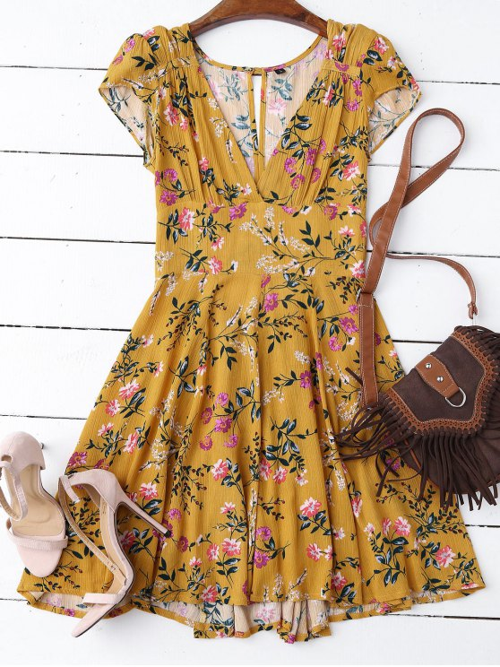 fancy Floral Plunging Neck Cut Out Dress - YELLOW L