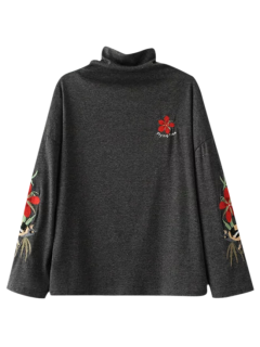 Embroidered Layering Top - Deep Gray M