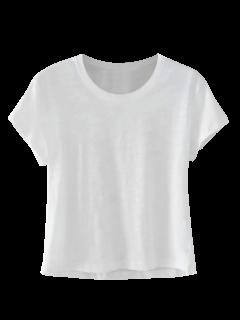 Mezcla De Algodón Cosechado Camiseta - Blanco