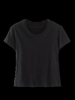Mezcla De Algodón Cosechado Camiseta - Negro