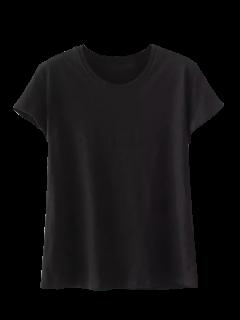 Mélange De Coton à Manches Courtes T-shirt - Noir