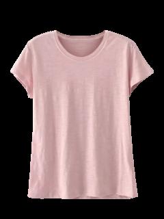 Mezcla De Algodón De Manga Corta Camiseta - Rosado Claro