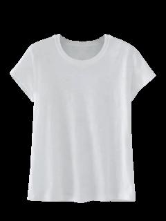 Mezcla De Algodón De Manga Corta Camiseta - Blanco