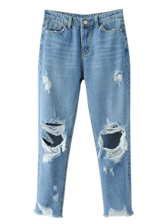 Frayed Ripped Tapered Jeans - Light Blue S