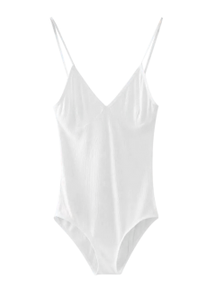 Cami Plunging Neck Bodysuit - White