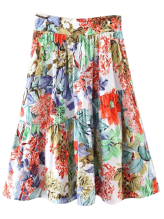 Flower A-Line Knee Length Skirt - Red L
