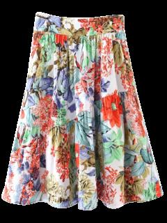 Flower A-Line Knee Length Skirt - Red M