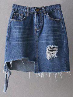 Asymmetric Frayed Hem Distressed Denim Skirt - Deep Blue S
