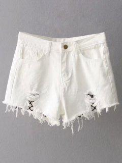 Fishnet Insert Ripped Denim Cutoff Shorts - White S