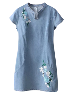 Cheongsam Embroidered Floral Denim Dress - Light Blue S