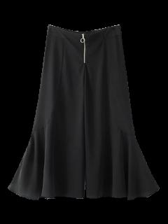 Ruffle Wide Leg Capri Pants - Black M